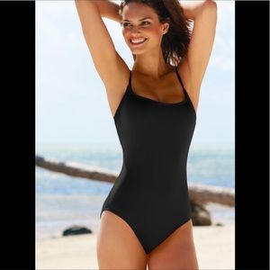 NEW Ann Cole Classic One Piece Black Swimsuit